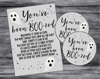 Printable You've Been Boo-zed Set. Instant Digital Download Printable Set. Halloween Boo Tags & Instructions for