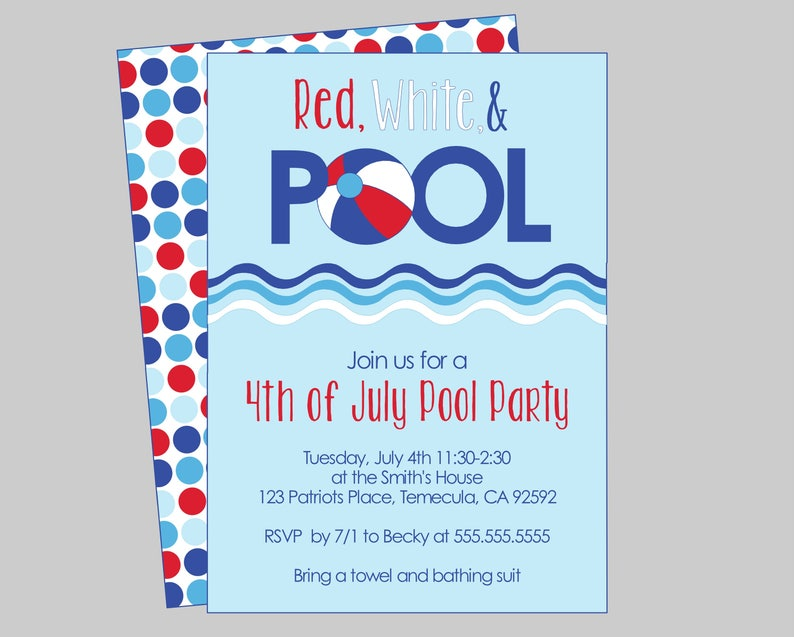 Red White Pool 4th Of July Party Invitation Printable