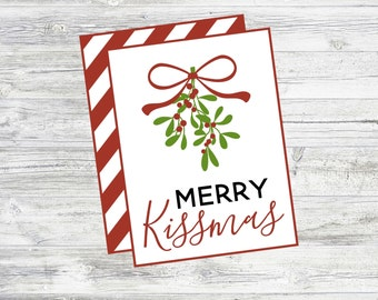 Merry Kissmas Gift Tag. Great Christmas Gift Tag To Pair With Lipstick, Lip Gloss, Lip Balm Gifts! Instant Digital Download. Printable Tag