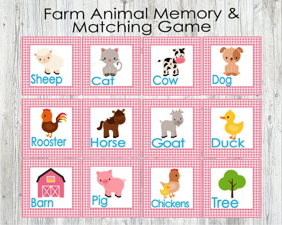 image regarding Animal Matching Game Printable identified as Purple Farm Animal Matching and Memory Video game. Printable Match for Infants, Preschoolers, Little ones. Flash Playing cards. Quick Electronic Down load