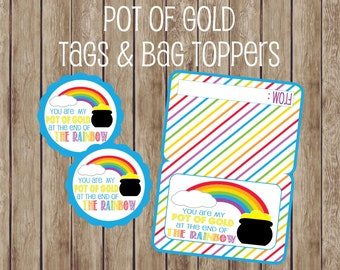 Pot Of Gold At The End Of The Rainbow St. Patrick's Day Gift Tags and Bag Topper. Instant Digital Download. St. Patrick's Day Gift Ideas