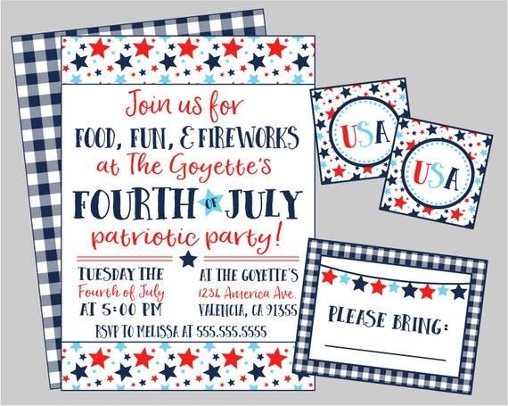 4th Of July Party Or Potluck Party Invitation Food Fun Etsy