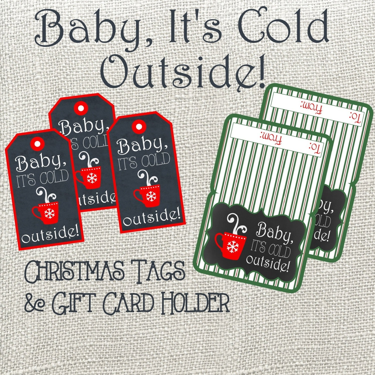 Baby It's Cold Outside Christmas Tag And Gift Card Holder