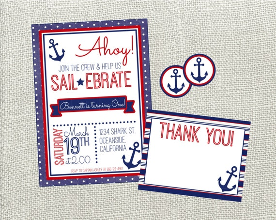 ahoy nautical birthday invitation red blue nautical etsy