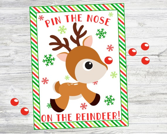 photograph regarding Pin the Nose on Rudolph Printable titled Pin the Nose upon the Reindeer. Printable Reindeer Match for Xmas Social gathering or Match. Fast Electronic Obtain. 8x10, 11x14 16x20 measurements