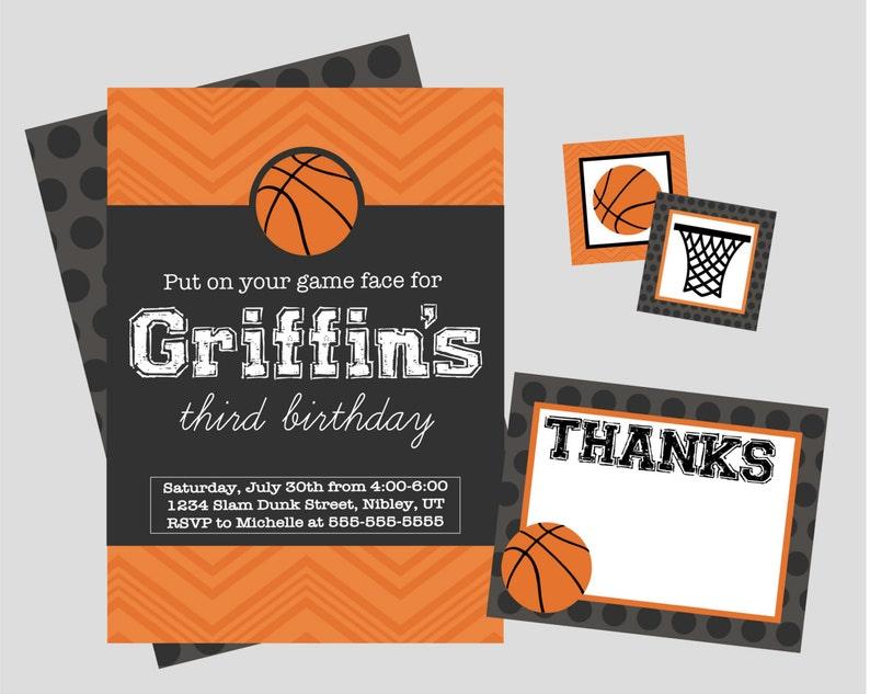 Basketball Birthday Party Invitation Personalized Digital Etsy