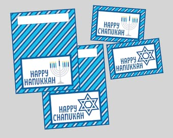 Hanukkah Gift Tags and Bag Toppers. Chanukah, Hanukkah Treat Tags and Toppers. Instant Digital Download. Menorah, Star of David Tags