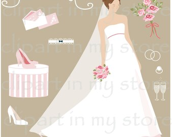 Elegant Silhouette Brides Clip Art, bridal shower, wedding invitation, card, print, digital clipart, fashion illustration