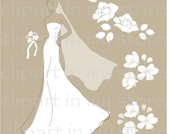 Bride in white wedding dress, bridal shower, wedding invitation, card, print, digital clipart, fashion illustration