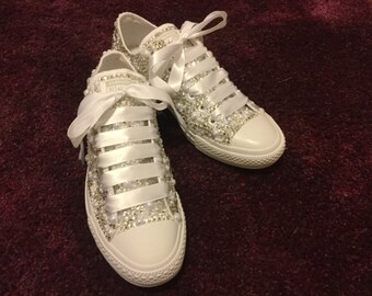 0a138b4e30c4 Extended Sizes 10.5 + Swarovski Diamond (Crystal)   Pearls Deluxe Blinged  Out Converse - Perfect for the BRIDE! Wedding style