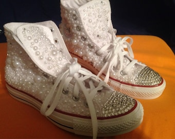 1e21575af42b Swarovski Diamond   Pearls (Crystal) Blinged Out Converse - Perfect for the  BRIDE! Wedding style