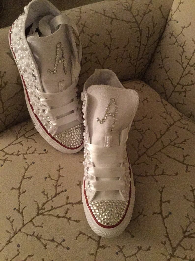46411e8bacf1 Swarovski Diamond   Pearls Crystal Blinged Out Converse with