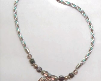 Ceramic Necklace - Carousel - Ceramic Triskele and Kumihimo Braided Satin Necklace