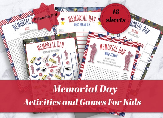 Memorial Day Activity pack Kids Games Printable I Spy Word