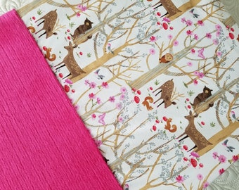 Changing Pad Cover Changing Table Mat Pad Cover Cotton Minky Magenta Pink Woodland Deer Bear Owl Floral Infant Baby Girl Shower Gift Idea