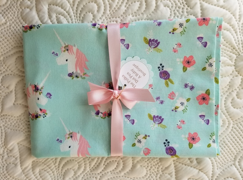 UNICORN Cotton Pillow Case Floral Pink Mint Purple Valentine Easter Christmas Grand Daughter Teen Little Girls Birthday Friend Party Gift