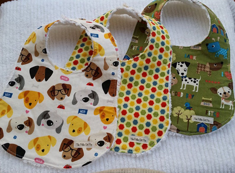 CONTOURED BABY Burp Cloths Pads Drool Newborn Infant Toddler Newborn Boy Shower Gift Puppy Dog Polka Dots Brown Green Yellow Cotton Chenille
