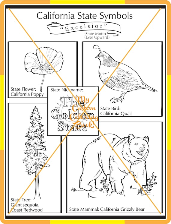 New California State Symbol Coloring Page Download Etsy