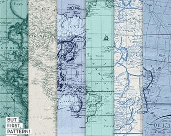 Decoupage paper map | Etsy