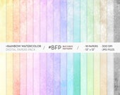 Watercolor Rainbow Digital Paper Pack- Instant Download - 18 High Resolution Multicolor JPG Files - 300 dpi Printable Papers -Scrapbook