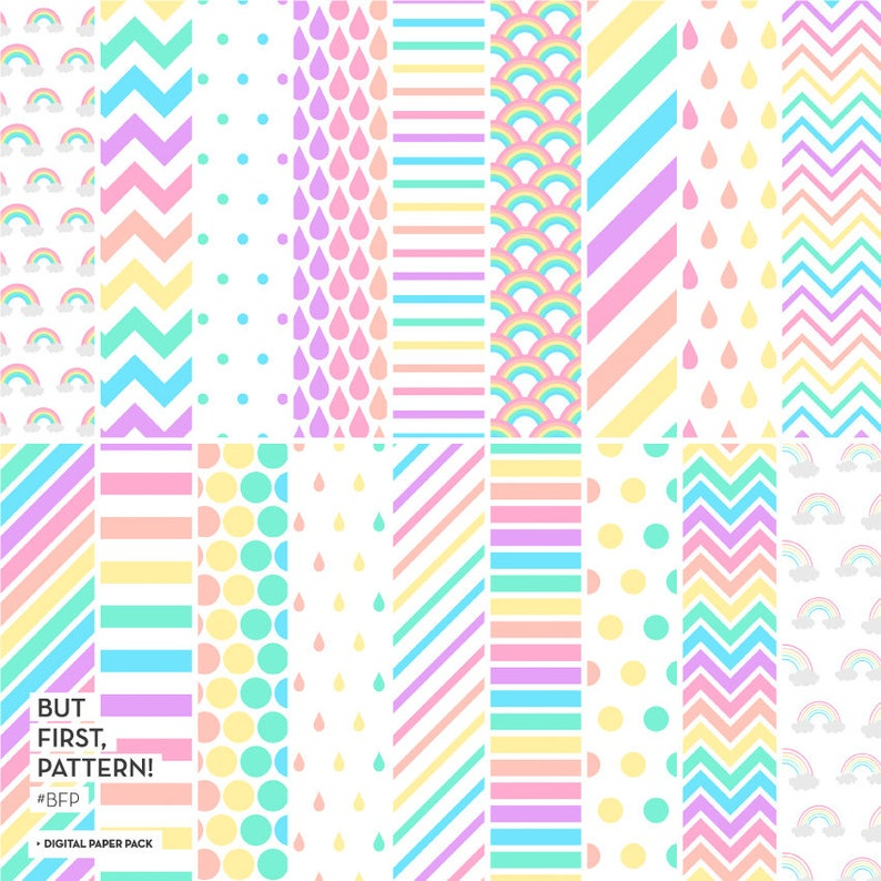 image relating to Printable Decorative Paper identified as PASTEL RAINBOW Electronic Paper - Pastel Ornamental Papers - 18 Patterned Papers - Geometric Printable Papers - Zig Zag, Stripes, Dots, Drops