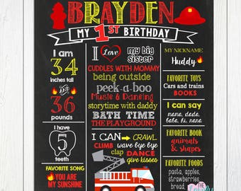 Firetruck First Birthday Chalkboard, Firefighter Chalkboard Sign, Boy 1st birthday, Fire truck Birthday Chalkboard Sign, DIGITAL FILE