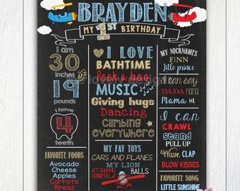 Airplane  First Birthday Chalkboard, Boyl 1st birthday, Plane 1st birthday Chalkboard Poster,Board,PRINTABLE FILE, Airplane theme