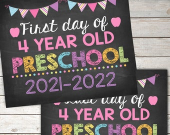 First Day and Last Day of 4 year old Preschool Sign,Pirntable  INSTANT DOWNLOAD Photo Prop, Back to School Sign Chalkboard,Digital Printable
