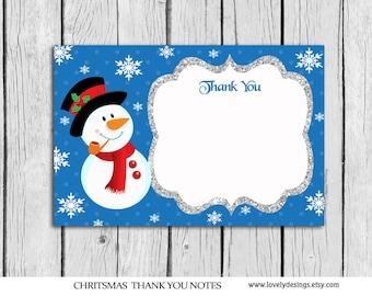 snowman christmas thank you card 4x6 christmas thank you note snowman card printable pdf - Christmas Thank You Cards