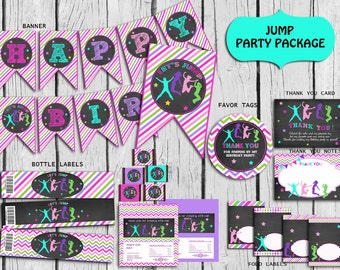 Jump Party Package Instant Download Trampoline Party Etsy
