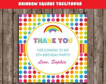 Rainbow Thank You Tags Any Age Rainbow Gift Favors Rainbow Etsy