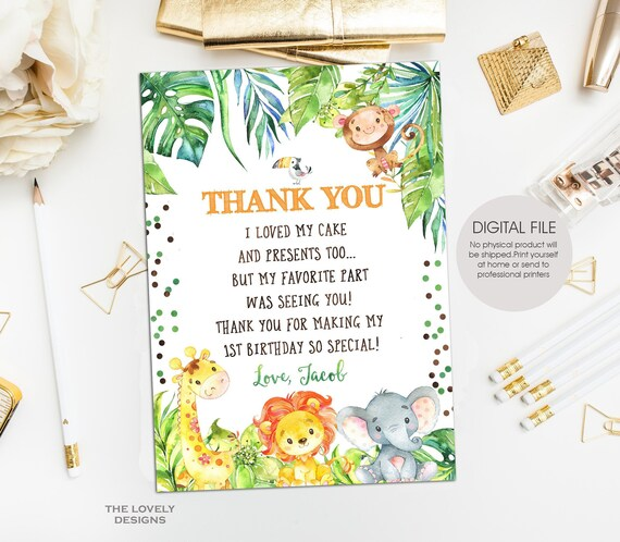 Jungle Thank You Card Safari Party Thank You Card Jungle Party Animals Thank You Card Jungle Birthday Party Printable Digital File