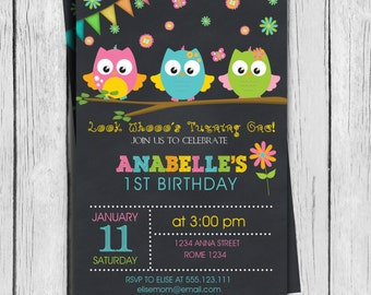 Owls Birthday invitation Party Personalized Printable, 1st birthday, 2nd Birthday, any age, Girls or Boys