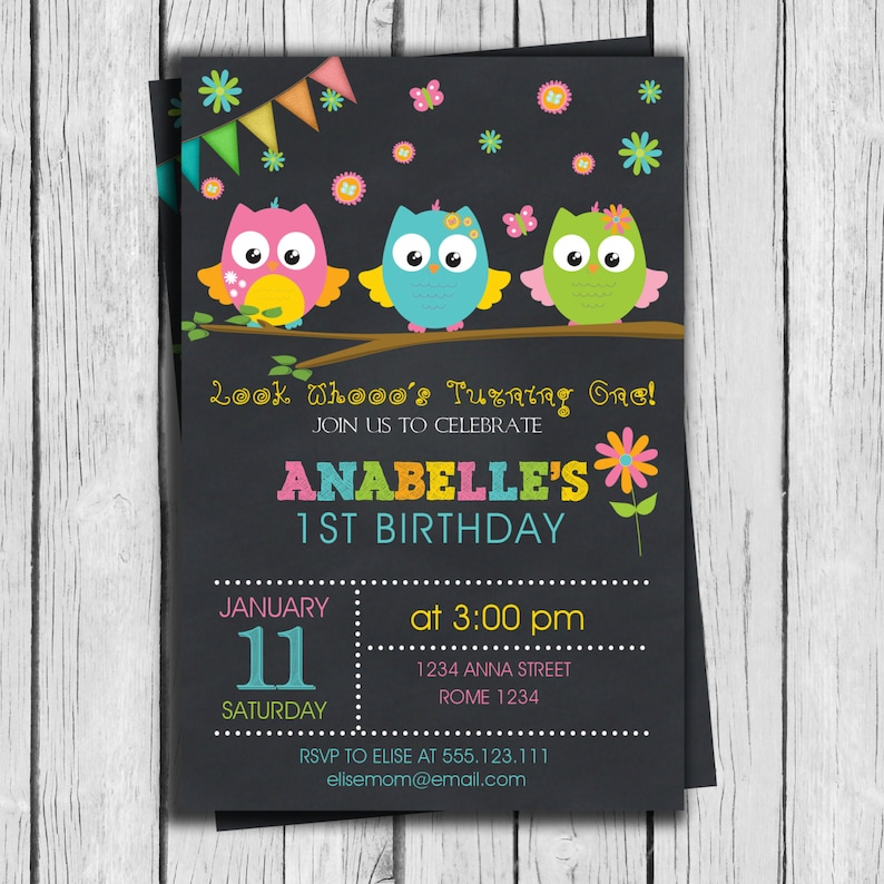 Owls Birthday Invitation Party Personalized Printable 1st