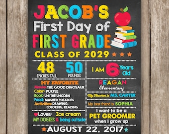 First Day of School Sign Chalkboard Sign, ANY GRADE , 1st Day of School Sign, Back to School Sign, First day of First Grade,Printable