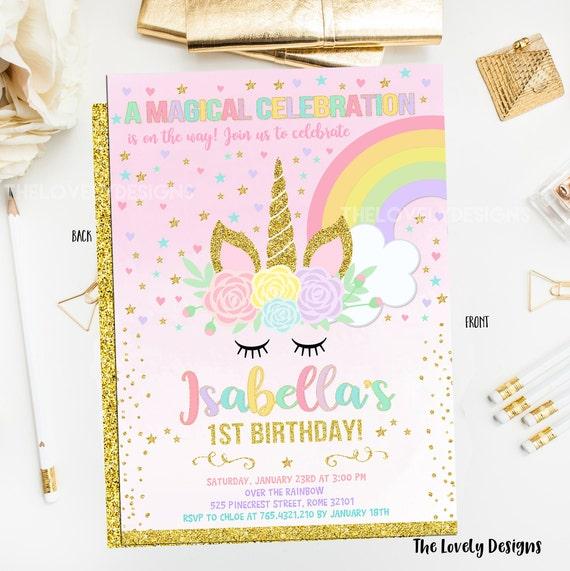 Unicorn Invitation Eyelashes Birthday Invite Magical