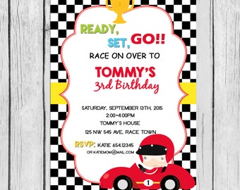 PRINTABLE Race Car Birthday Party Invitation Personalized
