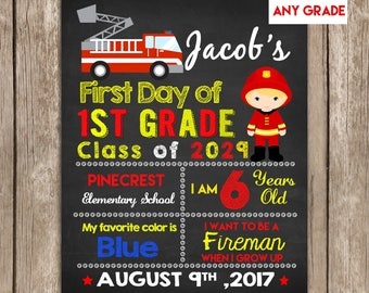 First Day of School Sign Firefighter,Fireman ANY GRADE, Back to School Sign Chalkboard,Photo Prop Digital Printable