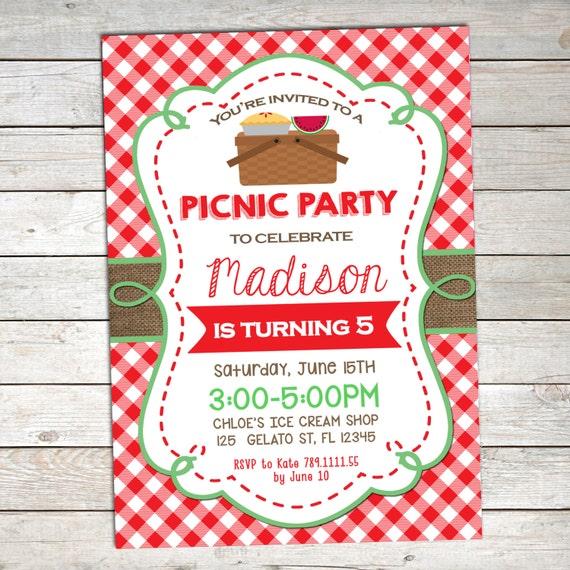 Invitación Fiesta De Picnic Picnic Cumpleaños Invitación Invitación De Cumpleaños De Verano Picnic Para Imprimir Cumpleaños Invitación De La Comida