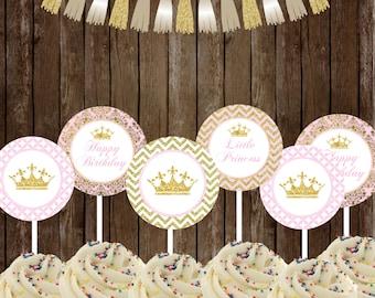 Princess Cupcake Toppers , Royal Princess Party Printable, Princess Toppers favors DIY, INSTANT DOWNLOAD Printable