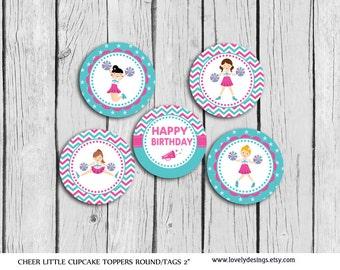 Little Cheerleaders Cupcake Toppers, INSTANT DOWNLOAD Printable
