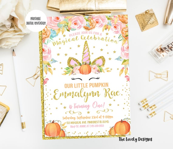 unicorn pumpkin invitation pumpkin invitation magical etsy