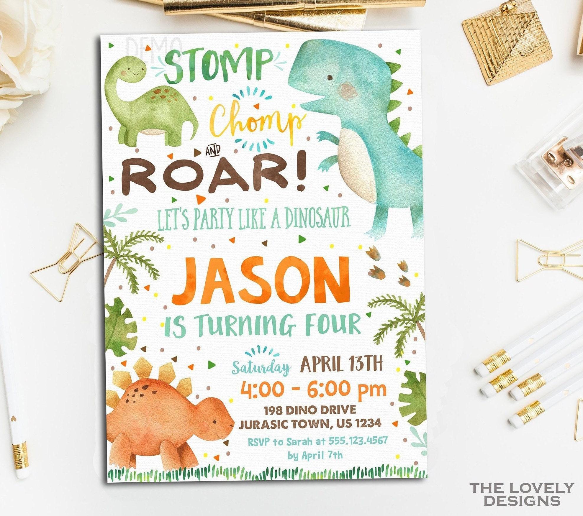 Dinosaur Birthday Invitation Baby Watercolor