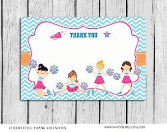 Little Cheerleader Thank you Card 4x6 , Thank you Note, INSTANT DOWNLOAD Printable
