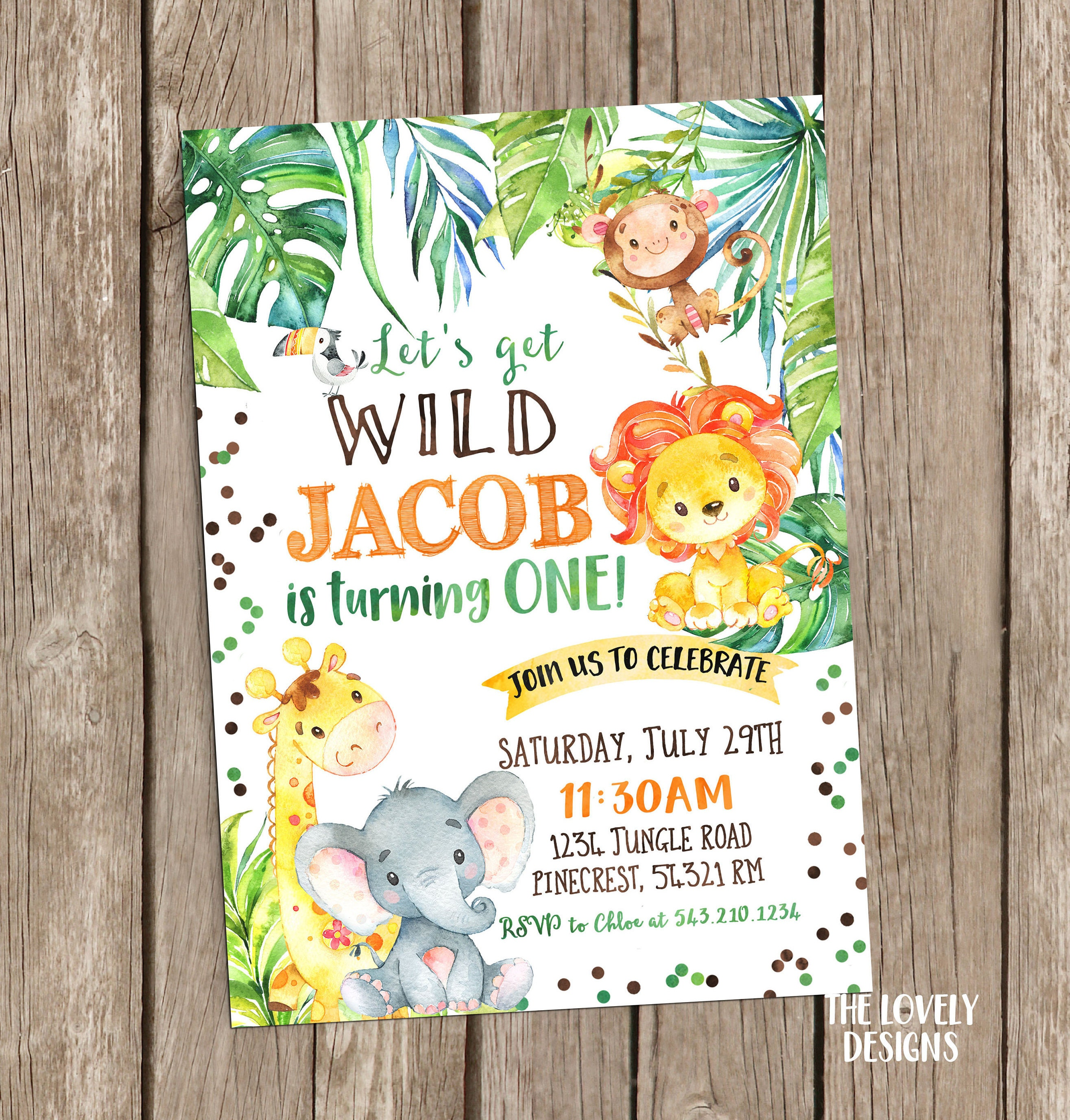 Jungle Invitation Safari Birthday InvitationSafari