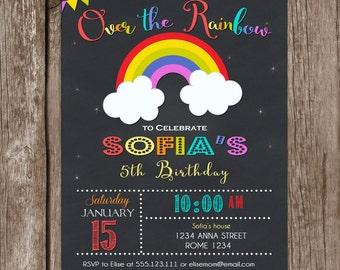 Rainbow invitations Etsy