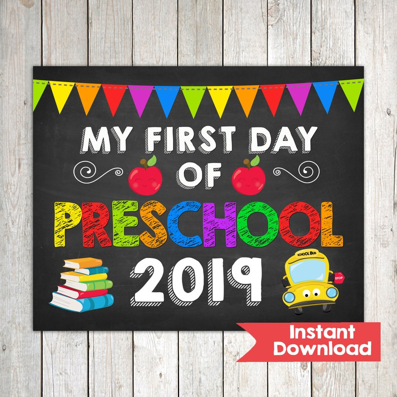 photo regarding First Day of Preschool Sign Printable identified as Very first Working day of Preschool Signal, My 1st working day of Preschool, Quick Obtain Image Prop, Back again in direction of Higher education Signal Chalkboard, Electronic Printable