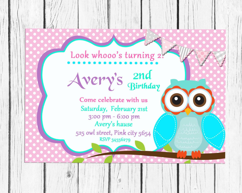 Owls Birthday invitation Party Personalized Printable 1st | Etsy