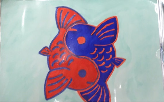 Blue Orange Yin Yang Koi Fish Watercolor Painting Etsy