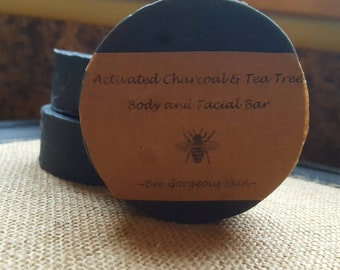 Homemade Activated Charcoal and Tea Tree Oil Body and Face Cleansing Bar
